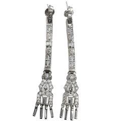 Art Deco 3.53 Carat Diamond Platinum Chandelier Earrings