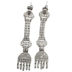 Gorgeous 3.76 Carat Diamond Platinum Chandelier Earrings