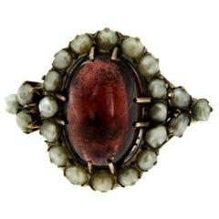 Victorian Garnet Bashra Pearl Gold Ring