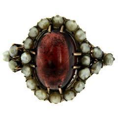 Victorian Bashra Pearl Garnet Gold Ring