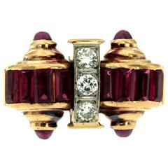 Retro Ruby Diamond Gold Ring