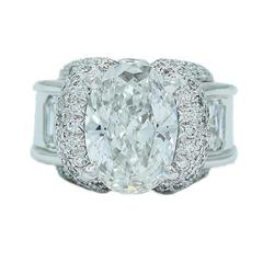 Charles Krypell GIA Reports 5.02 Oval Square Diamond Engagement Ring