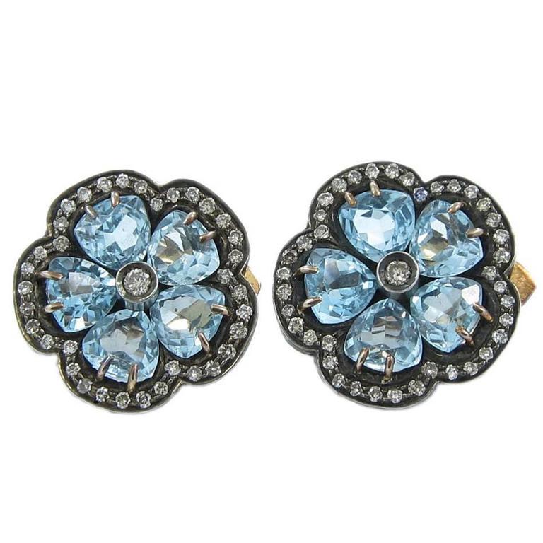 Diamond  Blue Topaz Flower Earrings