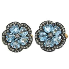 Diamond  Blue Topaz Flower Earrings