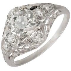 EGL Certified 1.40 Carat Victorian Diamond Filigree Platinum Engagement Ring