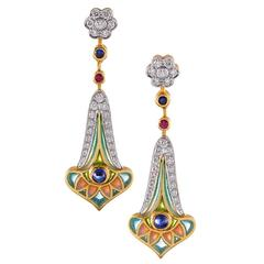 Masriera Plique a Jour Enamel Diamond Gemstone Earrings