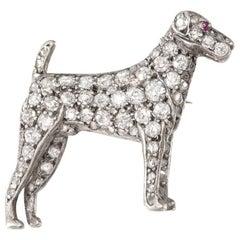 Edwardian Diamond Silver Gold Terrier Brooch