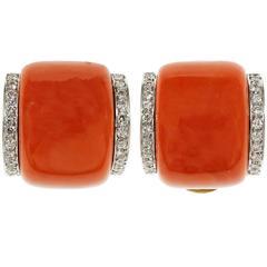 Gia Certified Coral Diamond Gold Earrings