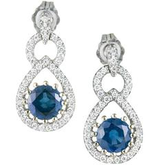 1.50 Carat Natural Sapphire Diamond Gold Dangle Earrings