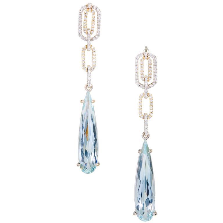 6.00 Carat Pear Shaped Aqua Diamond Dangle Gold Earrings
