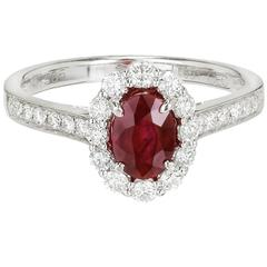 .88 Carat Oval Ruby Diamond Halo Gold Engagement Ring