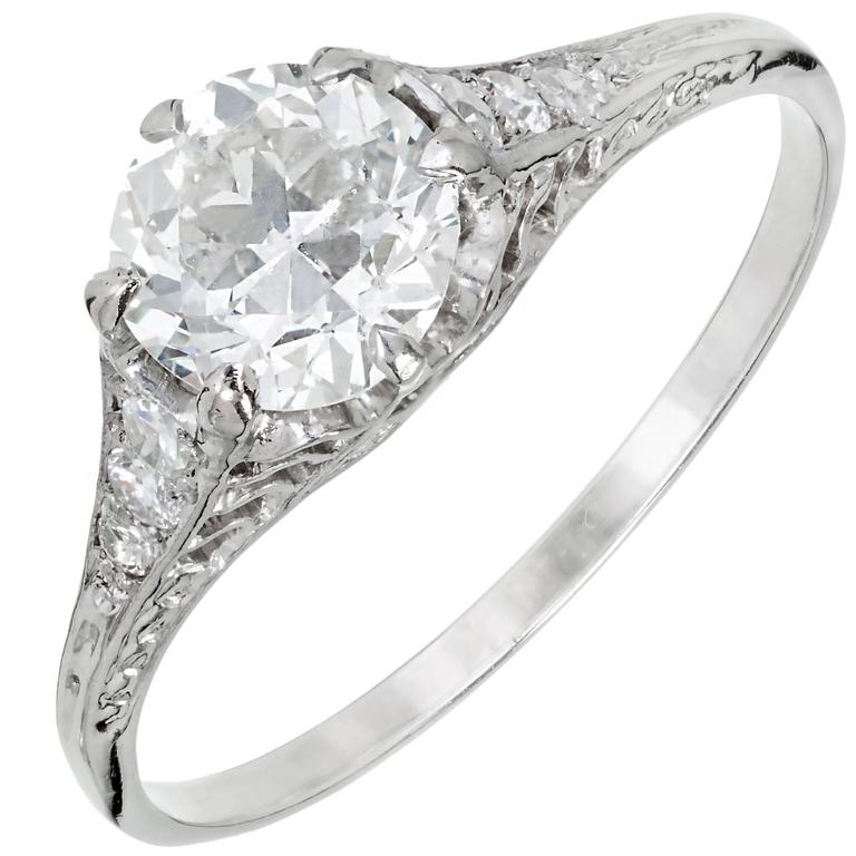 Egl Certified 1 04 Carat Art Deco Filigree Diamond Engagement Platinum Ring F