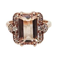 6.08 Carat Morganite Diamond Rose Gold Ring