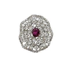 Burmese Ruby and Diamond White Gold Ring