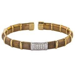 Italian Design 18 Karat Chocolate Gold Bracelet with Diamonds