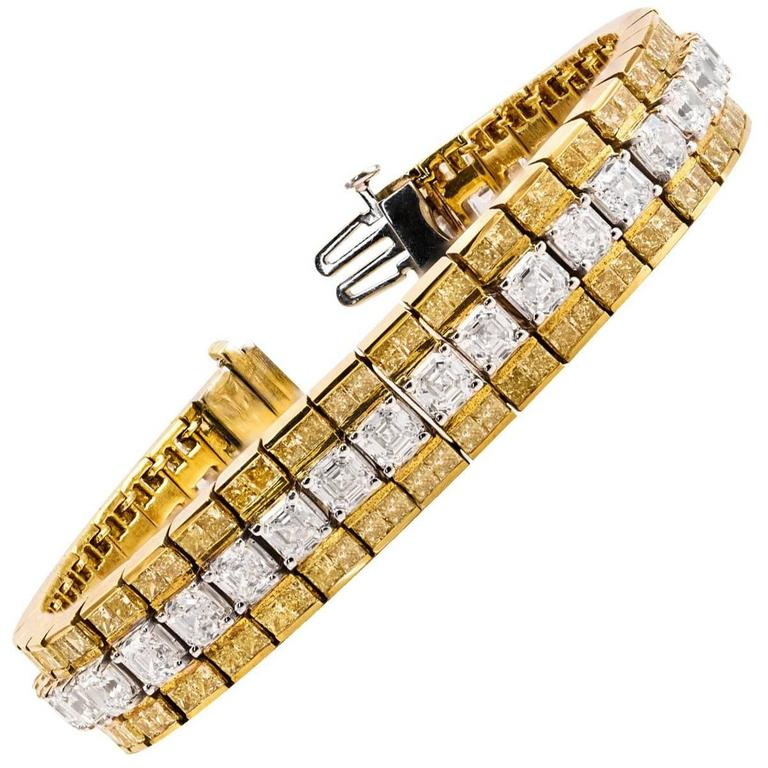 Yellow and White Diamonds Gold Bracelet