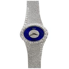 Piaget Ladies White Gold Diamond Lapis Lazuli Bracelet Wristwatch