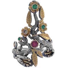 Flora Emerald Ruby Diamond Gold  Silver Ring