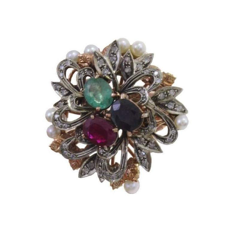 Gold Silver Diamond Sapphire Ruby Emerald Pearl Cluster Ring