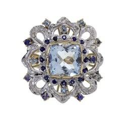 Gold Diamond Sapphire Aquamarine Cocktail Ring