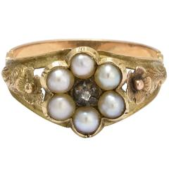 Antique Georgian Pearl Diamond Foliate Cluster Ring