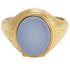 Antique Mid-Victorian Hidden Locket Signet Ring