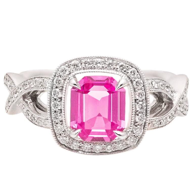Natural Pink Sapphire Diamond White Gold Halo Engagement Ring For Sale at 1st
