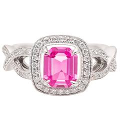 Natural Pink Sapphire Diamond White Gold Halo Engagement Ring