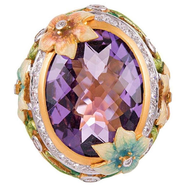 Masriera Plique a Jour Enamel 14.82 Carat Amethyst Diamond gold Ring  For Sale