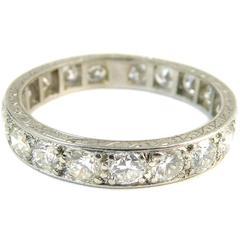 Vintage Diamond Eternity Ring, 1.54 Carat, circa 1930s Era