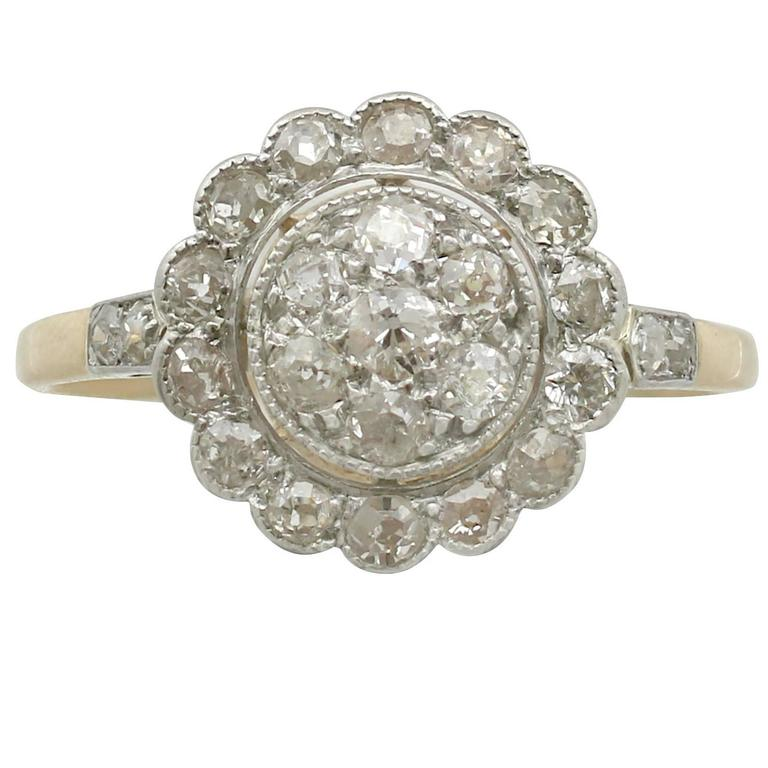1910s Antique Diamond Yellow Gold Platinum Set Cocktail Ring