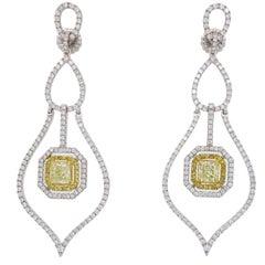 Savransky GIA Certified Diamond and White Gold Chandelier Dangle Earrings