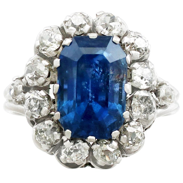 1960s 6.53 Carat Sapphire and Diamond White Gold Ring