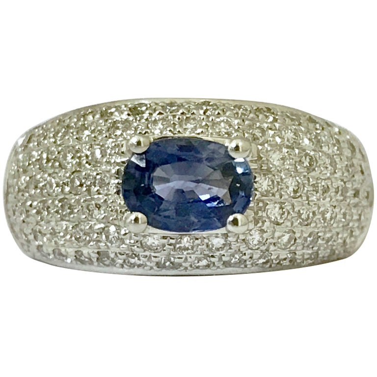 Sapphire Diamonds White Gold Cocktail Ring 1