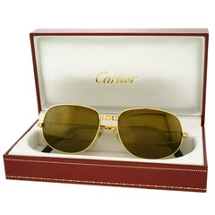 "Cartier ""Santos"" Diamond Set 18k Gold Sunglasses"