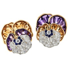 Oscar Heyman Pair of Citrine Amethyst Sapphire and Diamond Brooches