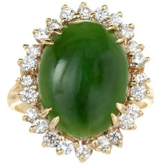 GIA Certified Nephrite Jade Diamond Halo Gold Cocktail Ring