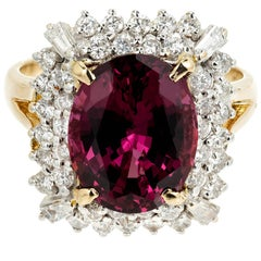 GIA Certified 5.88 Carat Purple Pink Garnet Diamond Halo Gold Cocktail Ring