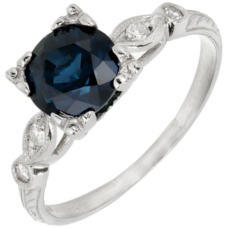 GIA Certified 1.76 Carat Art Deco Sapphire Diamond Platinum Engagement Ring