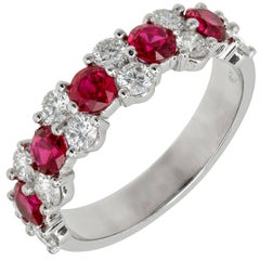 Peter Suchy 1.73 Carat Ruby Diamond Platinum Wedding Band Ring