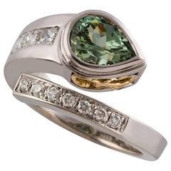 Kian Design 2.27 Carat Pear Shape Green Sapphire Diamond Ring