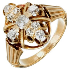 Victorian Old Mine Brilliant Cut Diamond Gold Ring, circa 1850s