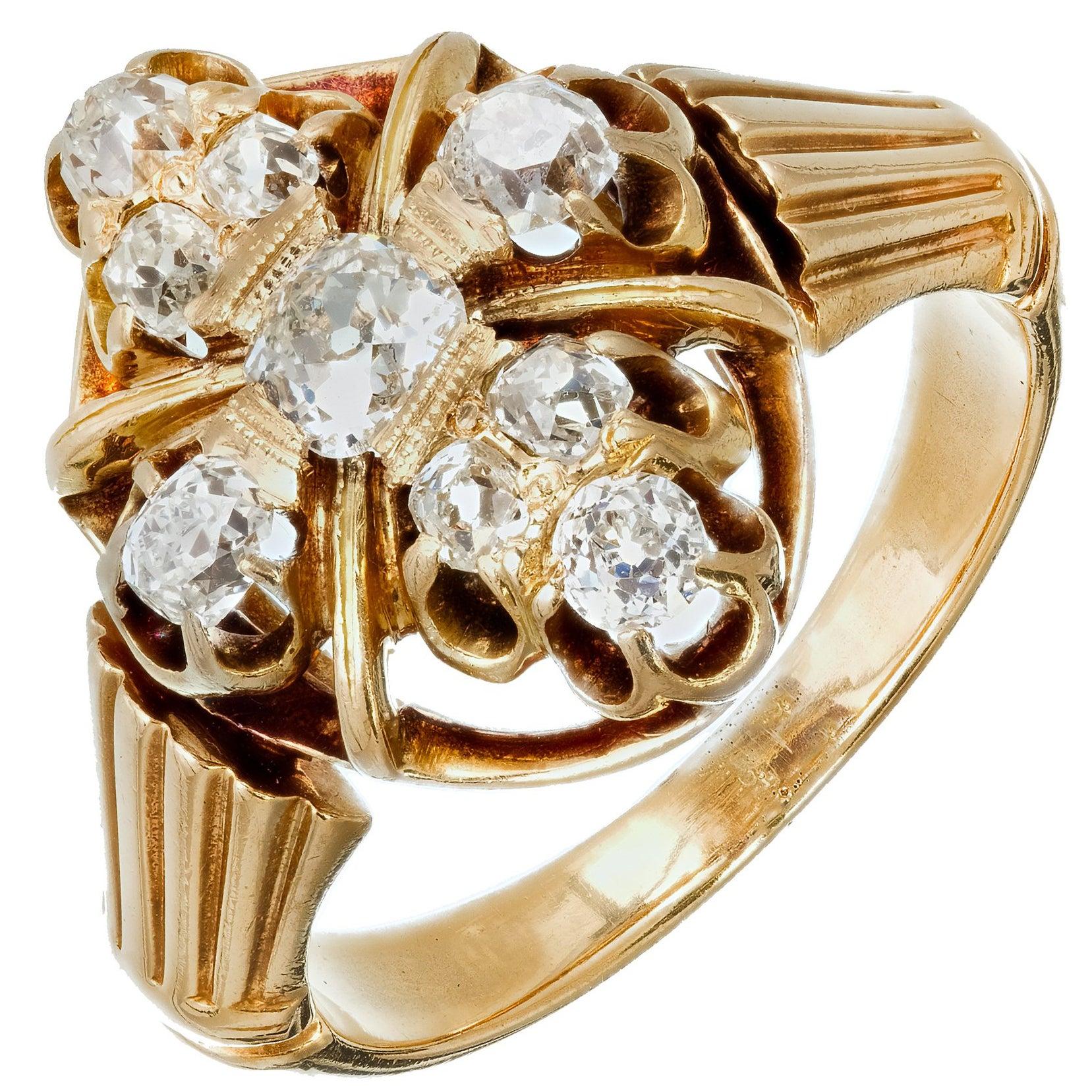 Victorian Old Mine Brilliant Cut Diamond Gold Ring, circa 1850s