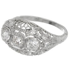 Diamond Three-Stone Platinum Filigree Dome Engagement Ring