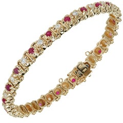 1.40 Carat Ruby Diamond Gold Bracelet