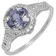 Peter Suchy GIA Certified Violet Sapphire Diamond Platinum Engagement Ring