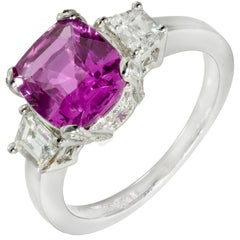 Peter Suchy GIA Certified 2.76 Carat Purple Pink Sapphire Diamond Ring