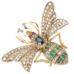 Victorian En Tremblant Sapphire Diamond Emerald Ruby Gold Honey Bee Brooche