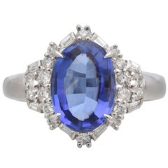 Oval 2.83 Carat Tanzanite  Diamond Cluster Platinum Ring