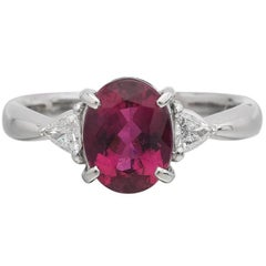 Rubellite Tourmaline Trillion Diamonds Platinum Ring